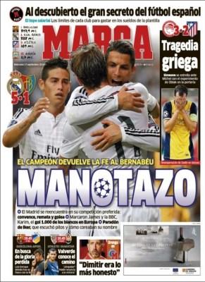 Portada Marca: El Real Madrid golea 5-1 al Basilea