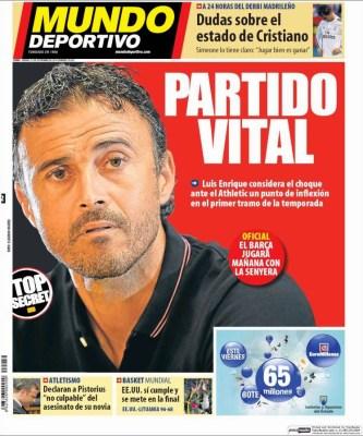 Portada Mundo Deportivo: Luis Enrique