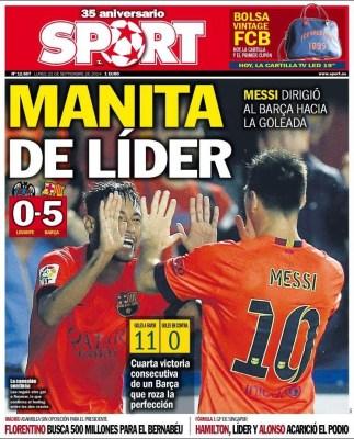 Portada Sport: manita de líder