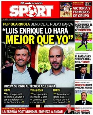 Portada Sport: Luis Enrique y Pep Guardiola