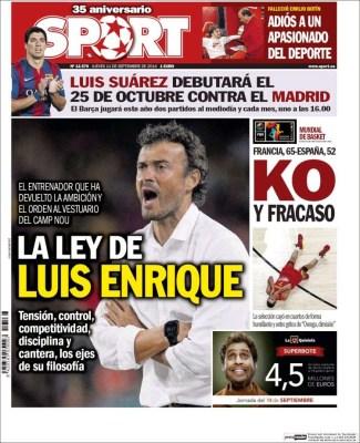 Portada Sport :Luis Enrique