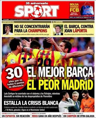Portada Sport: el mejor Barça