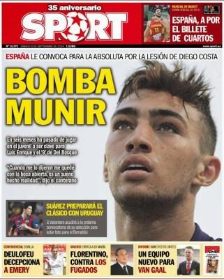 Portada Sport: Munir a la selección Española