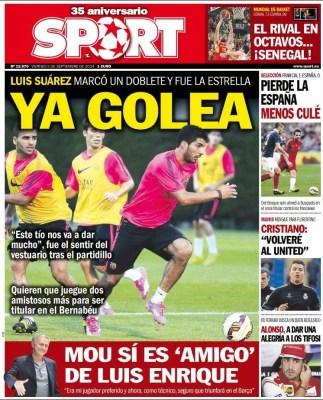 Portada Sport: Mou elogia a Lucho
