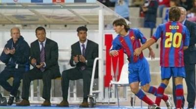 16 de octubre de 2004; Lionel Messi debuta con el FC Barcelona  entre por deco