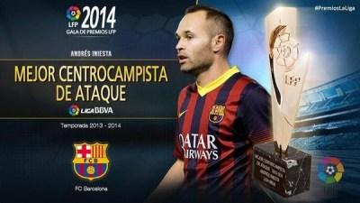 Mejor centrocampista, Andrés Iniesta: Premios LFP 2013-2014