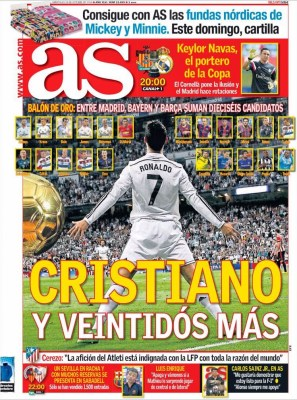 Portada AS: Candidatos a Balón de Oro 2014