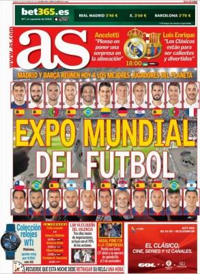 Portada AS: el clásico Real Madrid vs. FC Barcelona octubre 2014