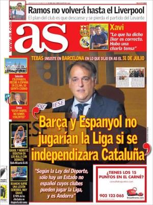 Portada AS: declaraciones de Tebas sobre la independencia de Catalunya