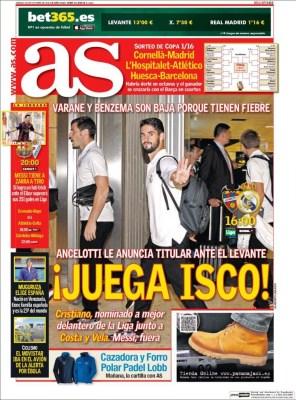 Portada AS: Isco juega ante el Levante  real madrid