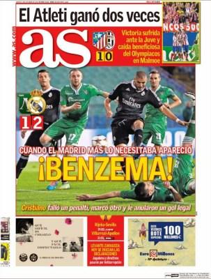 Portada AS: El Real Madrid vence al Ludogorets