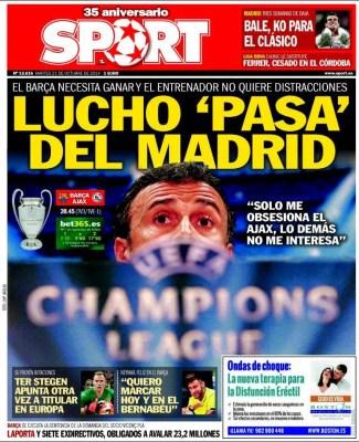 Portada Sport: Luis Enrique ajax barcelona