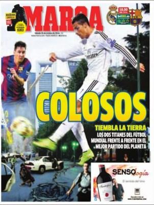 Portada Marca: el clásico Real Madrid vs. FC Barcelona octubre 2014
