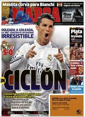 Portada Marca: el Real Madrid es un Ciclón