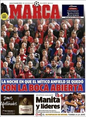 Portada Marca: Anfield se rinde ante el Real Madrid liverpool