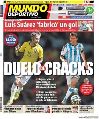 Portada Mundo Deportivo: Neymar vs. Messi