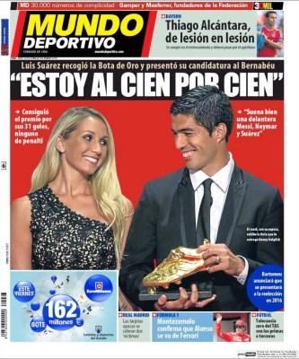 Portada Mundo Deportivo: Luis Suárez Bota de Oro
