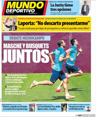 Portada Mundo Deportivo: Mascherano y Busquets