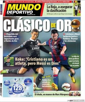 Portada Mundo Deportivo: Clásico de Oro
