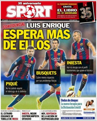 Portada Sport: se espera más del Barça