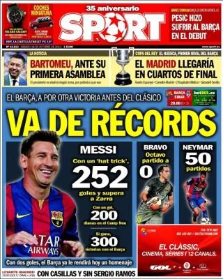Portada Sport: Messi busca el récord de Zarra