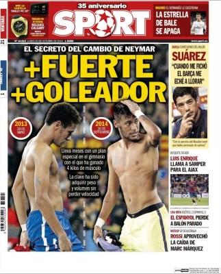 Portada Sport: Neymar más fuerte y más goleador