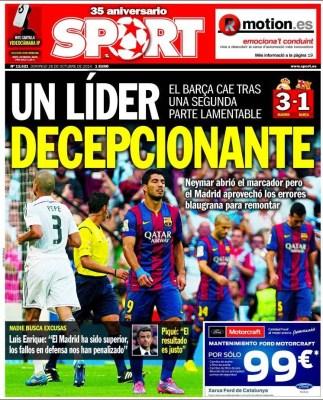 Portada Sport: Real Madrid 3-Barcelona 1. El clásico del 25/10/14