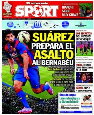 Portada Sport: Luis Suárez quiere estar en el clásico