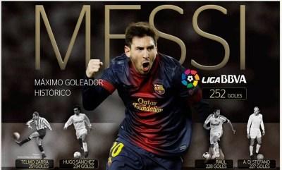 El Barcelona golea 5-1 al Sevilla y Messi supera a Zarra
