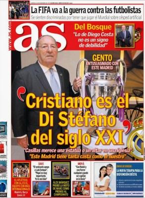 Portada AS: Ronaldo es el Di Stéfano del Siglo 21