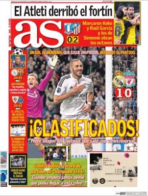 Portada AS: El Real Madrid ya está en octavos de Champions