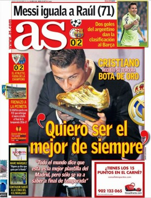 Portada AS: Cristiano Ronaldo recibe su tercera Bota de Oro