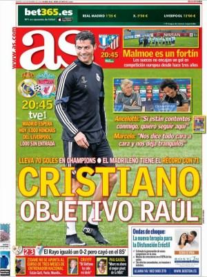 Portada AS: Ronaldo objetivo Raúl record goleador champions