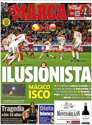 Portada Marca: España 3-Bielorrusia 0 la magia de isco