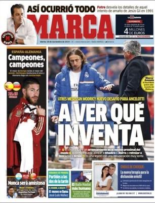 Portada Marca: Modric se lesiona tres meses