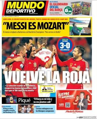 Portada Mundo Deportivo: España 3-Bielorrusia 0 la magia de isco