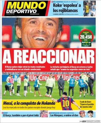 Portada Mundo Deportivo: a reaccionar barça