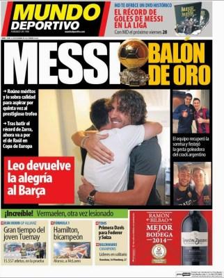 Portada Mundo Deportivo: Messi Balón de Oro Lionel Messi, la leyenda