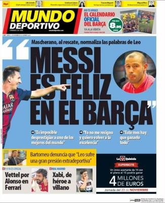 Portada Mundo Deportivo: Messi es feliz en el Barça