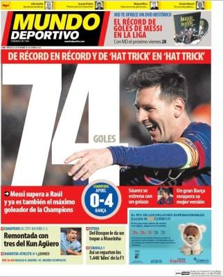 Portada Mundo Deportivo: Messi supera el récord de Raúl en Champions 74 goles