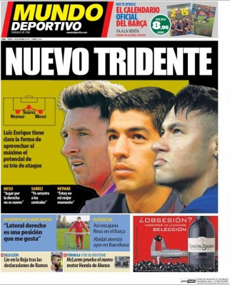 Portada Mundo Deportivo :Nuevo tridente MSN