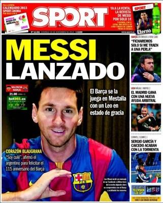 Portada Sport: Messi con el corazón en el Barça