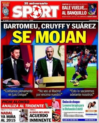 Portada Sport: Bartomeu, Cruyff y Suárez se mojan