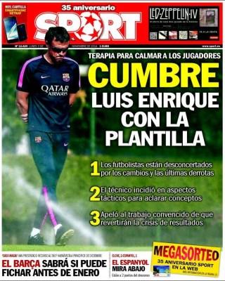 Portada Sport: cumbre con Luis Enrique