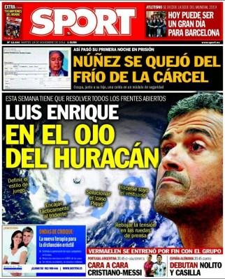 Portada Sport: Luis Enrique en el ojo del Huracán