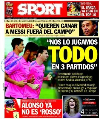 Portada Sport: El Barça se juega todo en tres partidos