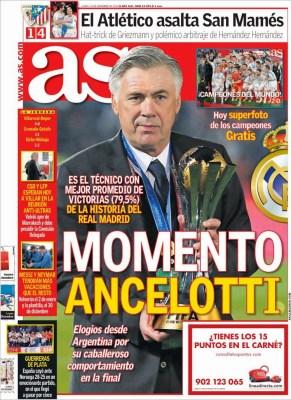 Portada AS: Carlo Ancelotti con la Copa del Mundialito
