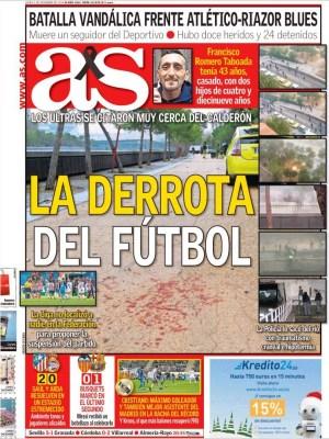 Portada AS: matan hincha del Depor, la derrota del fútbol