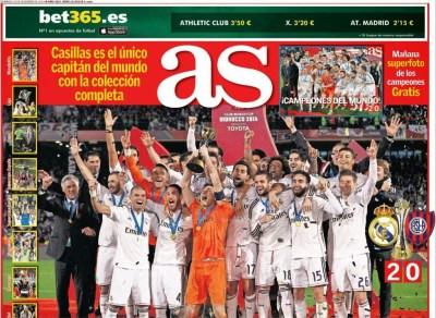 Portada AS: Real Madrid Campeón del Mundial de Clubes 2014 san lorenzo