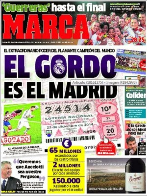 Portada Marca: El Gordo el el Madrid